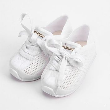 Mini Melissa Sports Shoes 2018 New Winter Flat Slip-on Kids Sandals Sneakers Breathable Shoes Love System Girl Jelly Keep Warmer