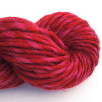 Super Bulky Recycled Wool Yarn, 70 Yards, Red and Pink, Lot 121015, Reclaimed Wool