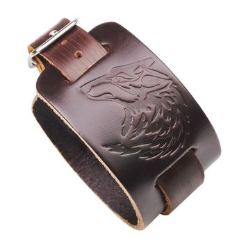 Courageous Viking Genuine Leather Wolf Head Gothic Wristband Bracelet for Men's by Ritzy