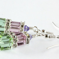 Melon Green and Light Amethyst Crystal Earrings, Swarovski Cubes, Cantaloupe, Sterling Silver,