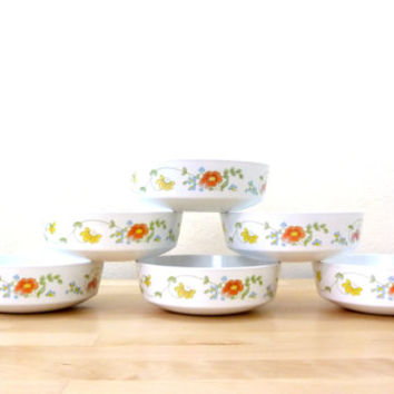 Vintage Centura Wildflower Bowls / Cereal Bowls / Floral Bowls / Corning Bowls / Corning Ware Dishes / Set of 6