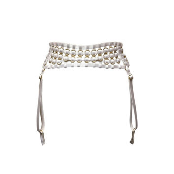 Woven Suspender Belt - White & Gold