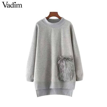 Vadim women faux fur pocket oversized long sweatshirt o neck long sleeve loose pullover autumn casual chic sudaderas SW1287
