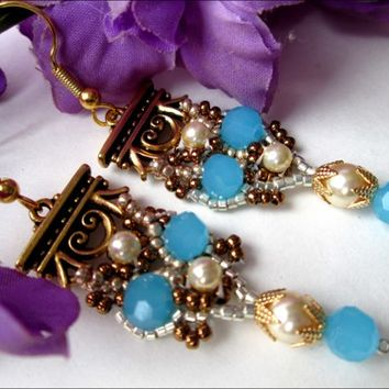 Bright Blue Crystal Antique Gold Plate Pewter Swarovski Pearl Earrings | specialtivity - Jewelry on ArtFire