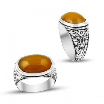 Oval amber gemstone silver mens ring