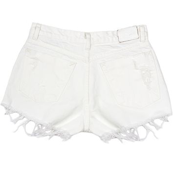 RILEY DENIM CUT OFF SHORTS- WHITE – Shop Sincerely Jules