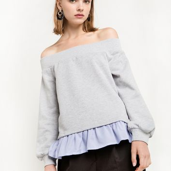 Off The Shoulder Combo Sweatshirt