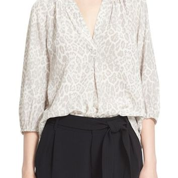 Joie 'Addie B' Split Neck Print Silk Blouse | Nordstrom