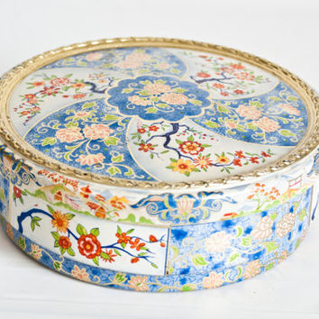 Vintage Asian Print Tea Tin Biscuit Canister, Round Blue and White Tin Storage Box, Made in Holland
