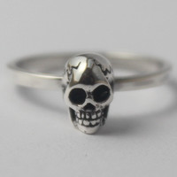 Sterling Silver 3D Skull stacking Ring, skeleton ring, Goth Punk Jewelery, Halloween, Statement ring