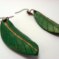 Leaf Earrings green and gold leather jewelry