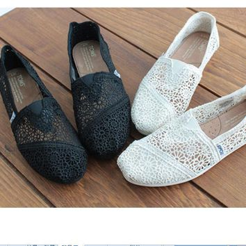 TOMS Natural Crochet Classics Flats Fashion hollow Summer Sexy Loose Shoes black-1