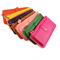 Hot Sell Cheap PU Leather Carteira Feminina Lychee Emboss Zipper Long Wallet 0015