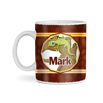 Lizards and Turtles on Rocks Monogram 11oz Coffee Mug