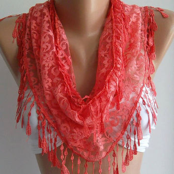 pomegranate flower color -- Elegance  Shawl / Scarf with Lacy Edge..