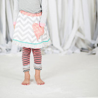 Grey Chevron Girls Skirt with polka dot ruffle and pink heart pocket, girls holiday outfit, grey and white stripe