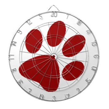 Red Paw Print Dartboard