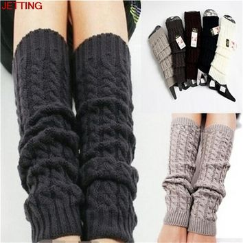 JETTING-Winter Leg Warmers for Women Fashion Gaiter Boot Cuffs Woman Thigh High Warm Knit Knitted Knee Sock Black Christmas Gift