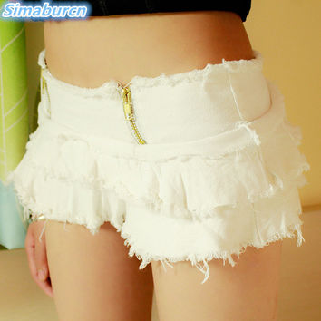 White Zipper Fly Micro Mini Denim Shorts Women 2017 Summer Fashion White Ripped Jeans Shorts Hole Tassel Cute Girl Shorts