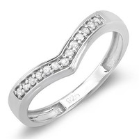 Sterling Silver White Round Real Diamond Wedding Stackable Band Anniversary Guard Ring (0.15 CT, G-H Color, I1-I2 Clarity)