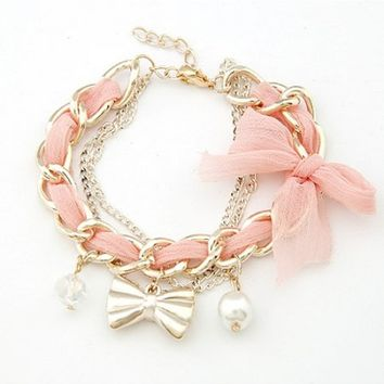 *Free Shipping* Pink Lace Bow Prepare Delicate Bracelet 12011411