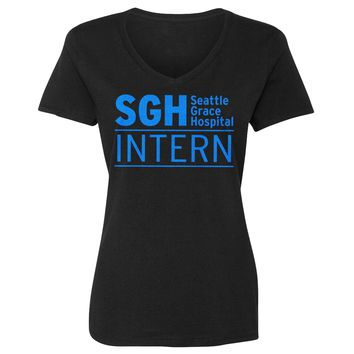 Womens Intern Seattle Grace Hospital Vneck T-shirt