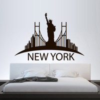 City Skyline Wall Decal Vinyl Sticker Decals Art Decor Buildings Town Lights bridge USA NY Statue of Liberty United States Bedroom (m1380)