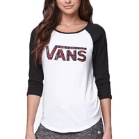 Vans Plaid Raglan T-Shirt - Womens Tee - White