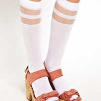 ASOS Knee High Double Stripe Socks at asos.com