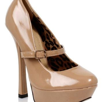 Women's 6 Inch Fetish Pump (5,Beige)