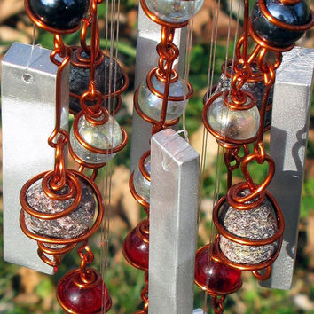 January Birthstone Garnet Windchime with Recycled Aluminum and Copper Wrapped Clear, Ruby Red & Black Glass Marbles