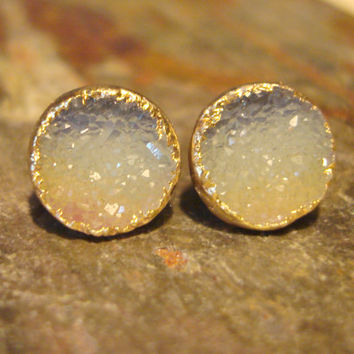 Ombre Earrings - Gold Druzy Studs - Sunrise Blue Yellow Ombre - Vintage Research