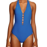 Tory Burch Solid Plunging One Piece Swimsuit | Bloomingdales's