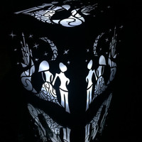starry night fairy tale lantern luminary wedding centerpiece unassembled princess and groom with castle moon and stars party decor