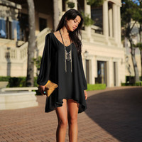 Black Longsleeve Split Chiffon Mini Dress