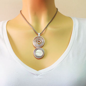 BLACK FRIDAY SALE - Spiral Jewelry, Spiral Necklace, Silver Spiral Jewelry, Sea Shell Jewelry, Sea Shell Pendant , Natural Jewelry, Gemstone