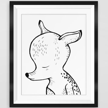 Deer print - Ink drawing - Nursery - Deer printable - Black & White - 10x8 - Deer wall art - Hand drawn - Instant Download - Cute animal