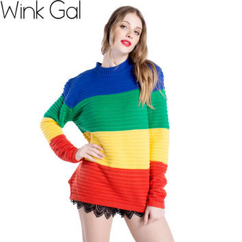 Wink Gal Brand Rainbow Striped Women Pullover Winter Sweaters 2015 Matching Christmas Sweaters w1694