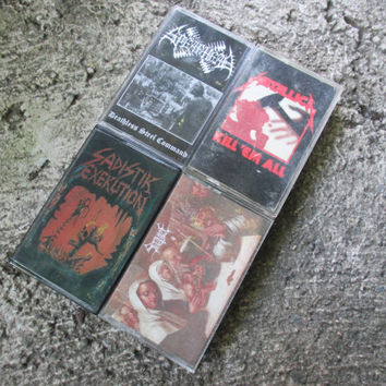 Metal Cassette Tape Lot / Black / Death Metal / Spearhead / Metallica / Satanize / Sadistik Exekution