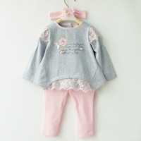 Little Toddler Girl Dresses For Age 1-5 Spring Baby Sets Clothing Girl's Lace Patchwork Three-in-one Set Long Sleeve Suit