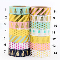 New 1X 15mm  Gold Stamping Pineapple Fruit Japanese Washi Tape Scrapbooking Tools Papelaria Decorative Masking Tape Lot 15mm*10m