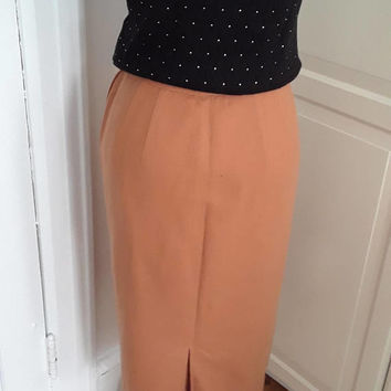 "50s Camel Pencil Skirt, Wool, Pocket Detail, Bobbie Brooks, Hard to Find Larger Size, Medium, 28"" Waist"