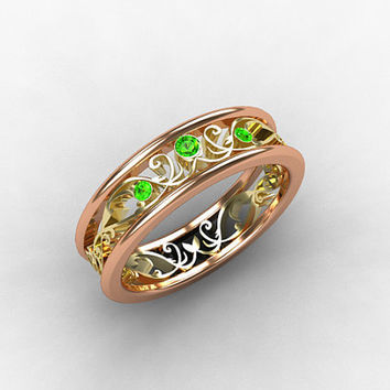 Rose Gold ring, emerald wedding band, Yellow gold, Filigree ring, lace, Rose gold wedding, emerald ring, green