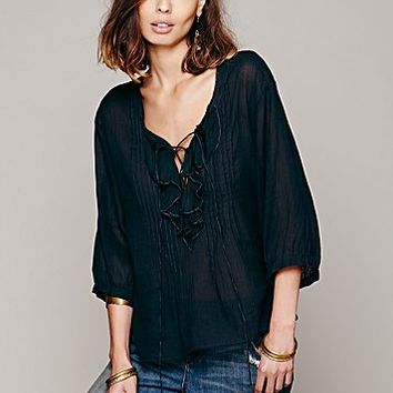 Free People Womens FP ONE Ruffle Me Up Blouse