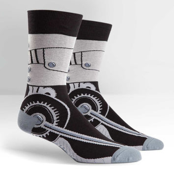 Men's Walking Robot Print Crew Socks