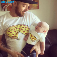 Matching Mother Father Daughter Son Clothes T Shirt Fashion Pizza Short Sleeve Baby Boys Girls T-shirt Matching Look Outfits