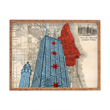 DarkIslandCity John Hancock Center With Great Fire Map Rectangular Tray