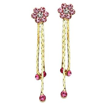 BAFFIN Romantic Rose Flower Crystals Drop Earrings Gold Color Tassel Hanging Piercing For Women Party Accessories Indian Jewelry