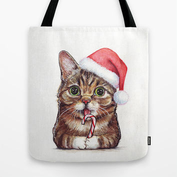 Lil Bub in Santa Hat | Christmas Cat | SQUARE Tote Bag by Olechka