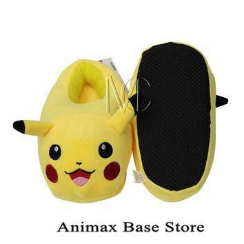 Children's Anime Pokemon Go Pikachu Full Stuffed Plush Slippers Cotton Home Plush Slip